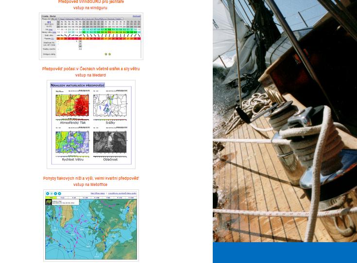 předpověď počasí na stránkách Czech Navy